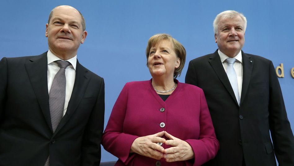 Koalitionspartner Scholz (SPD), Merkel (CDU), Seehofer (CSU)