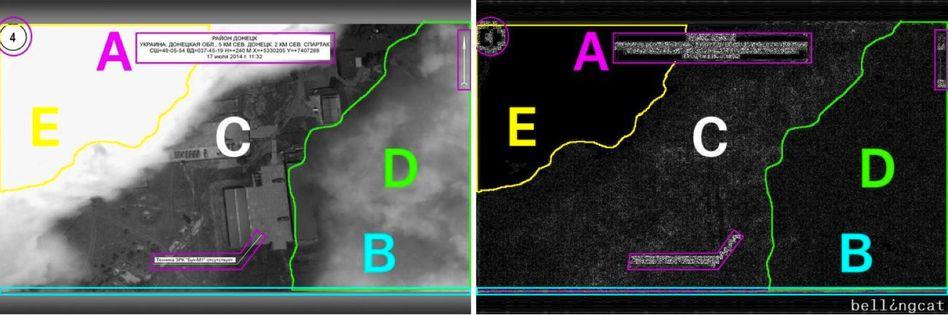 Bellingcat-Analyse eines russischen Satellitenbildes