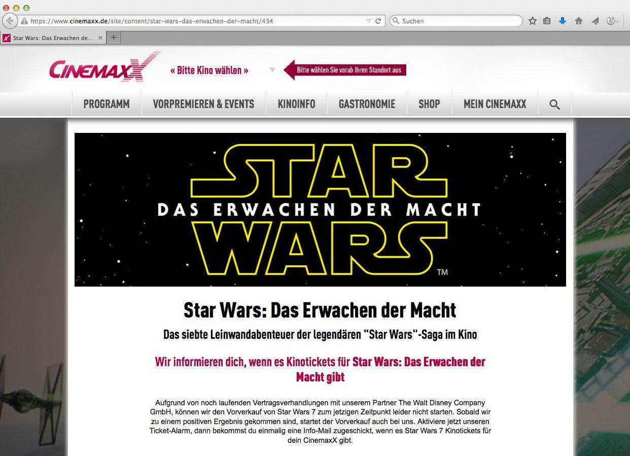 EINMALIGE VERWENDUNG Cinemaxx/ Star Wars VII. SCREENSHOT