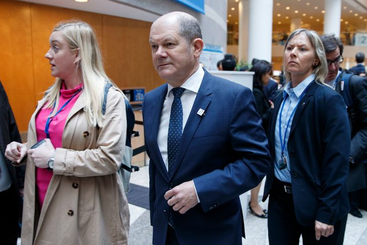 Scholz kommt am 12. April 2019 beim Internationalen Währungsfonds in Washington an