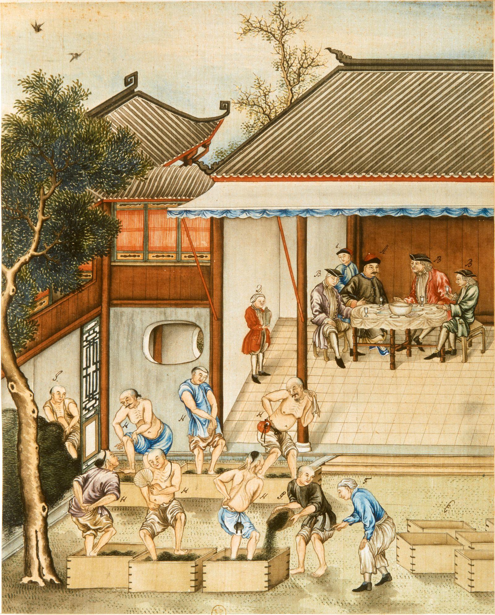 China, Europäer und Chinesen im Hafen von Kanton, Schwarztee in Kisten für den Transport nach Europa / Seidenmalerei 18. Jh.