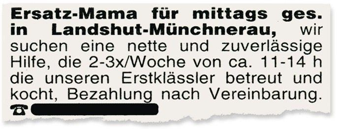 Kleinanzeige aus dem Deggendorfer »Wochenblatt«