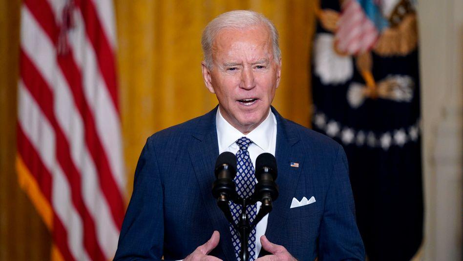US-Präsident Joe Biden bei seiner übertragenen Rede bei der virtuell abgehaltenen Münchner Sicherheitskonferenz