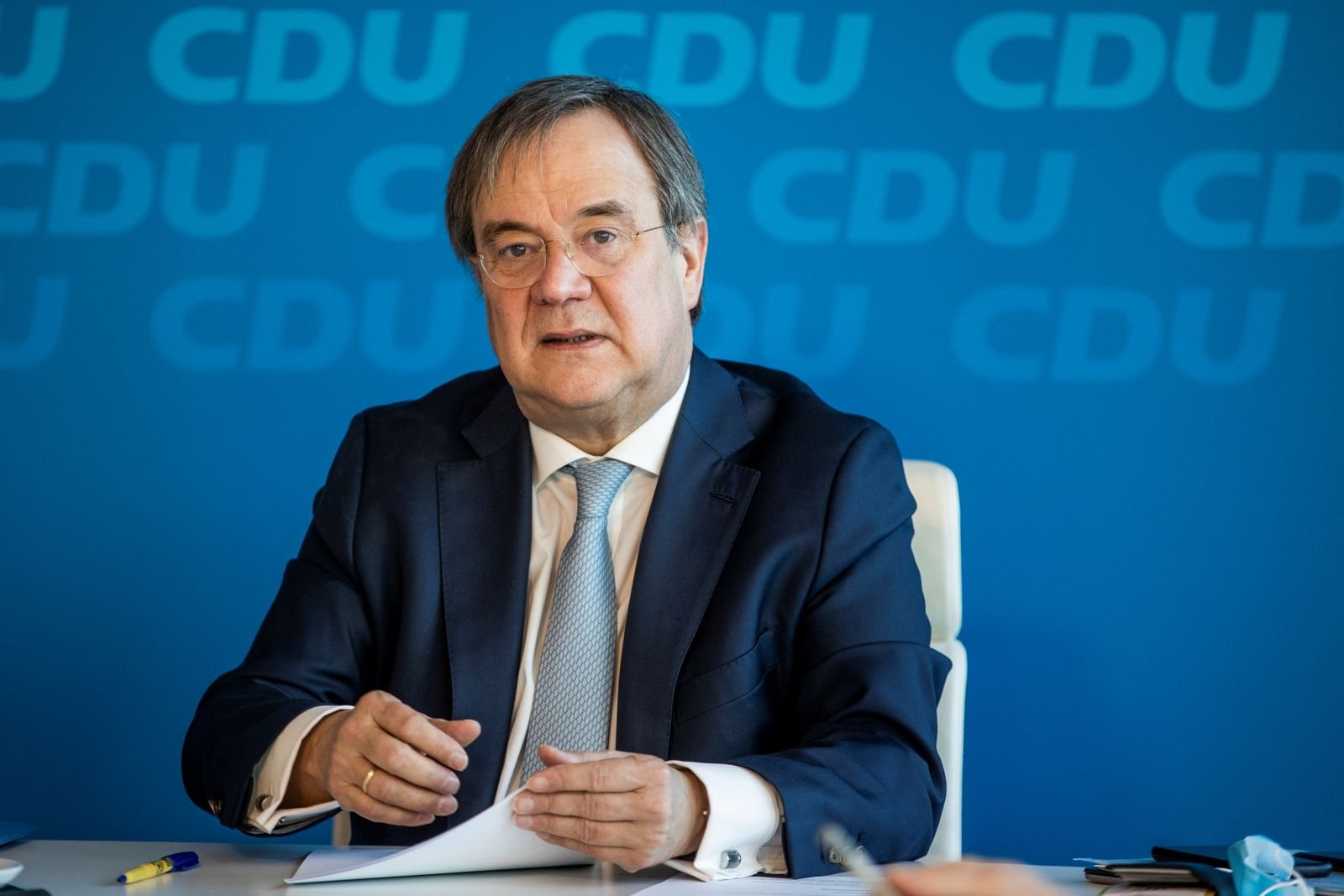 CDU's Leader Armin Laschet attends a party leadership meeting via video conference
