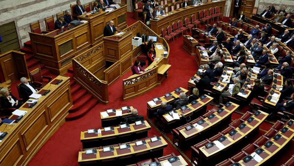 Das griechische Parlament vor der Abstimmung zu Reparationszahlungen