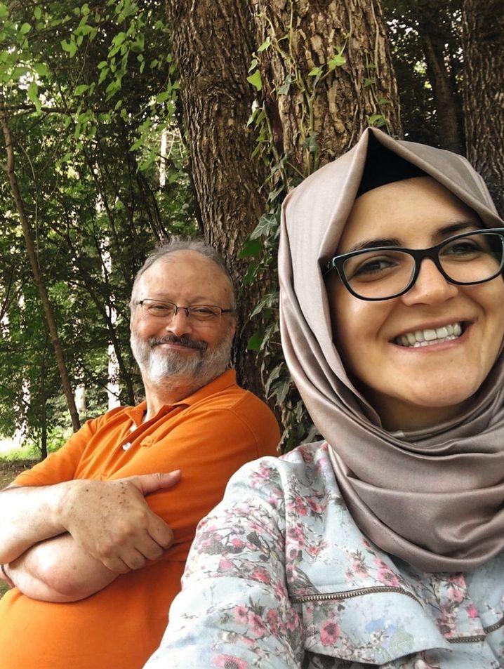 Jamal Khashoggi and Hatice Cengiz in Istanbul
