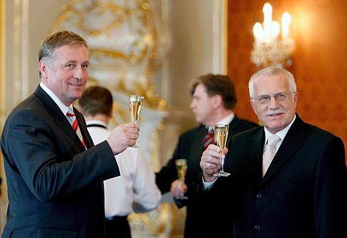 Rivals: Czech Prime Minister Mirek Topolánek (left) and President Václav Havel are divided about the EU.