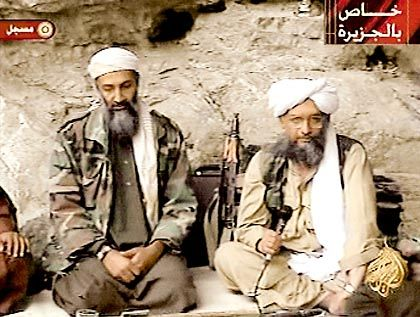 Osama bin Laden with his top lieutenant Egyptian Ayman al-Zawahiri (r).