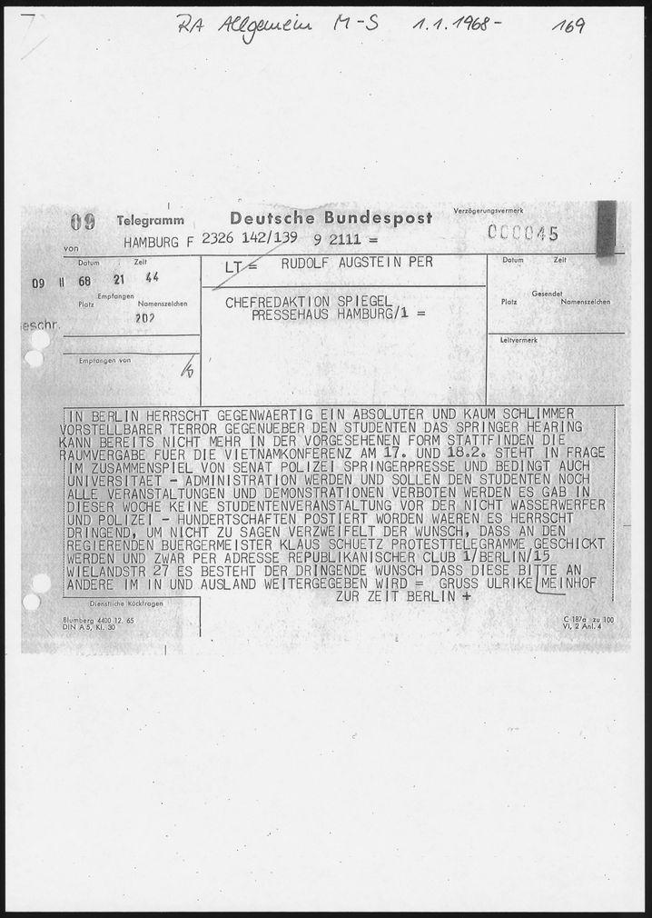 Meinhof-Telegramm an Augstein 1968