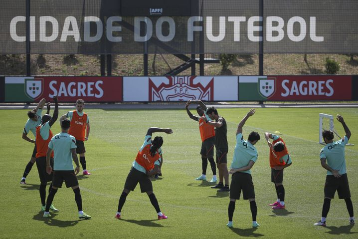 Die portugiesische Nationalmannschaft beim Training für die EM