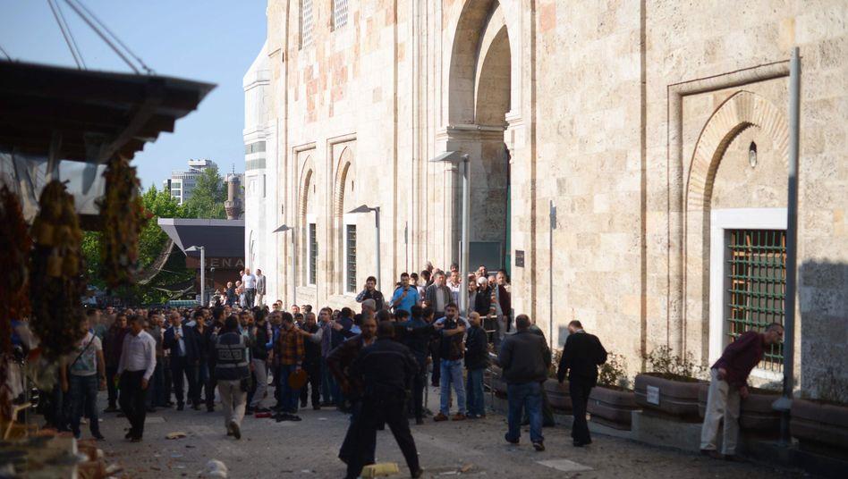 Anschlagsort nahe der Moschee in Bursa