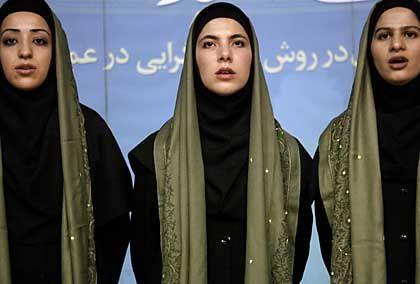 Iranian women singing for hardline reform candidate Ali Larijani.