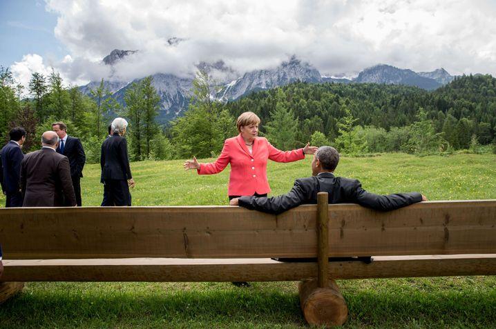 Angela Merkel und Barack Obama in Garmisch-Partenkirchen