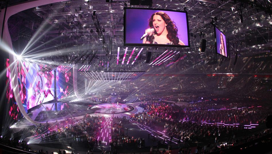 General view during the second semifinal of the Eurovision Song Contest (ESC) in Duesseldorf, Germany, Thursday, May 12, 2011. The final of the ESC will be held on Saturday. (AP Photo)