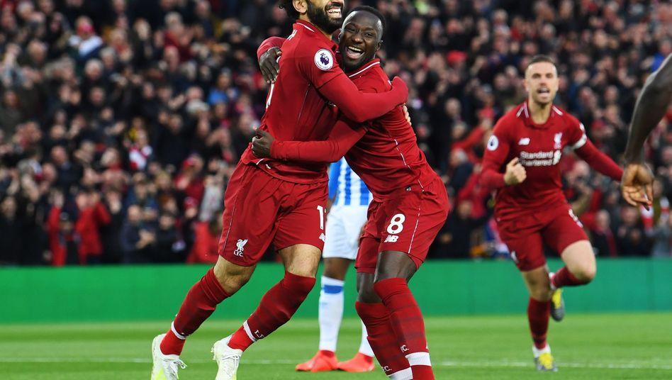 Naby Keita (r.) erzielte den schnellsten Treffer Liverpools in der Premier League