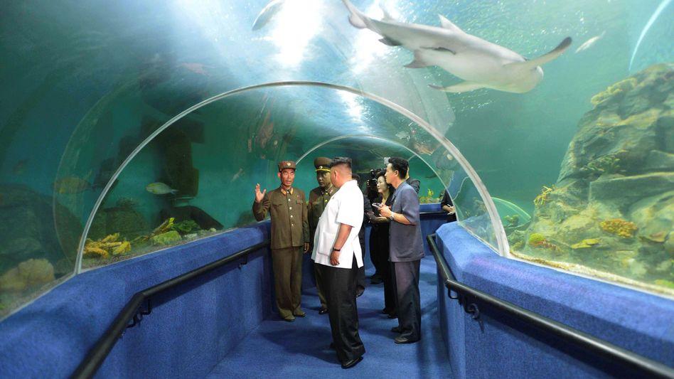 Diktator Kim Jong Un mit Untergebenen in einem Freizeitpark (Propagandafoto der nordkoreanischen Nachrichtenagentur KCNA)
