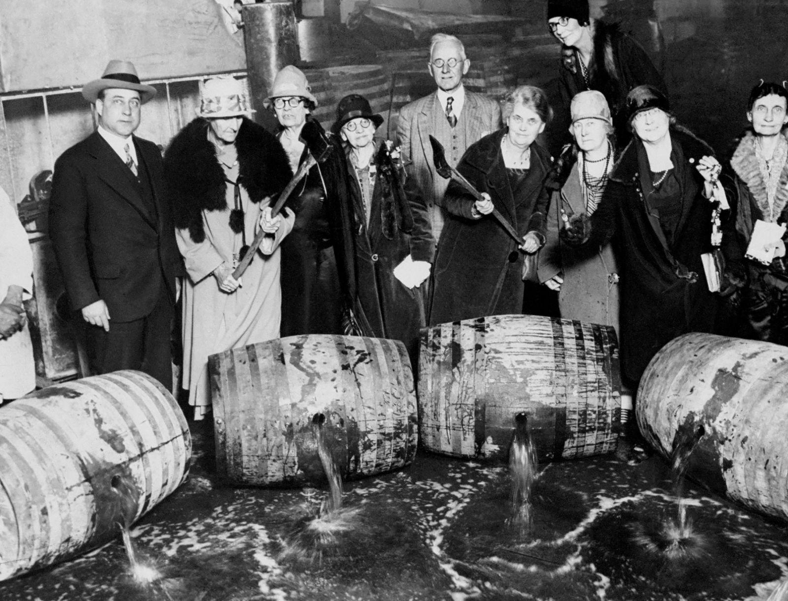 Prohibition - Members of Women's Christian Temperance Union crack open bar