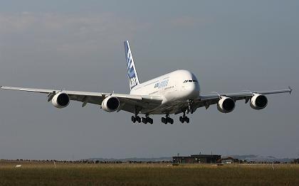 A380 im Landeanflug: Flugtechnisch bekam er Bestnote