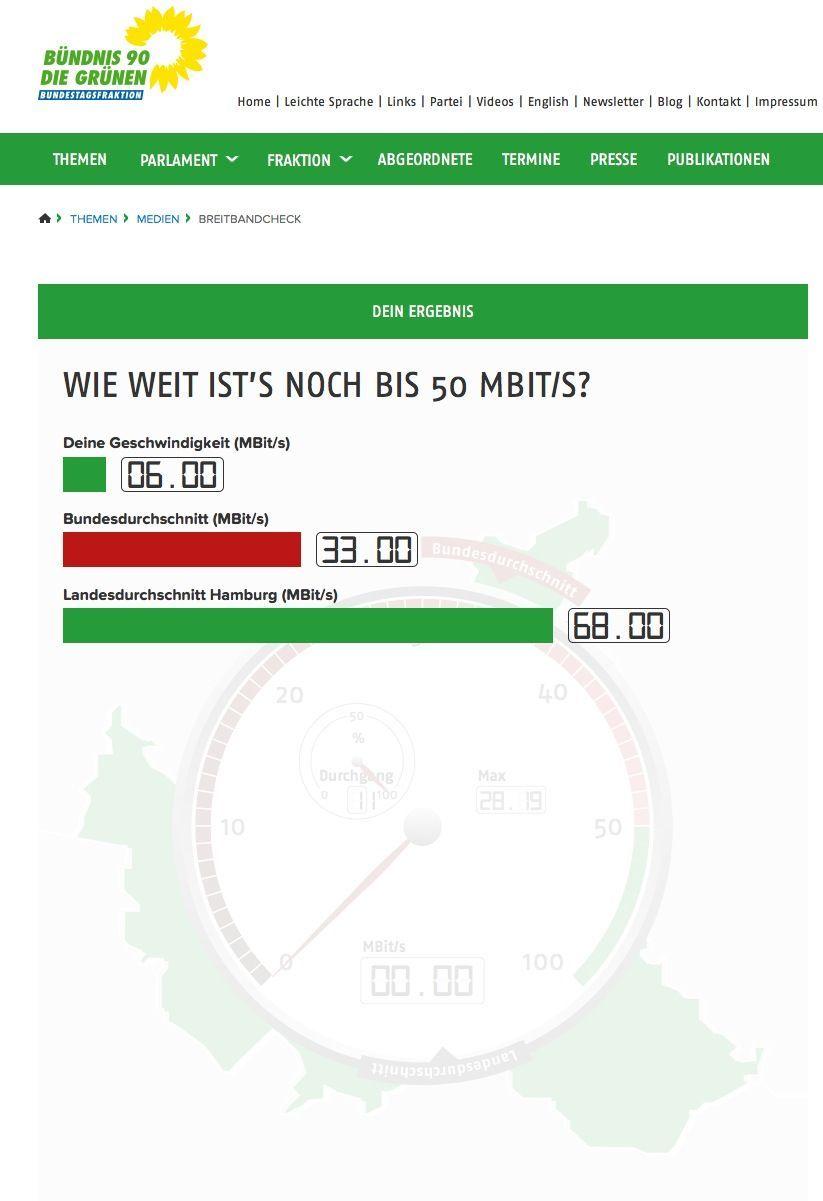 NUR ALS ZITAT Screenshot/ Grüne/ Test/ Internet Schnelligkeit