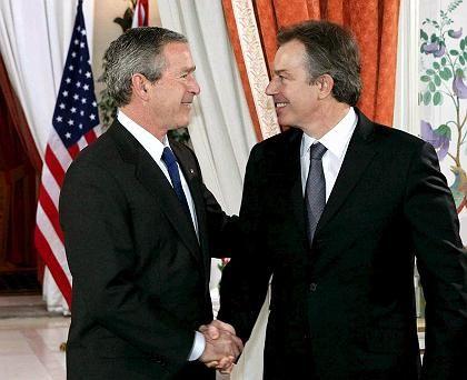 US-Präsident Bush (l.), Briten-Premier Blair: Gemeinsam gegen Agrarbeihilfen