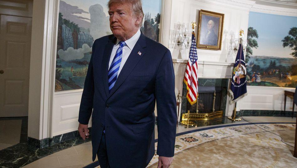 Donald Trump nach seiner Rede zum US-Ausstieg aus dem Iran-Abkommen