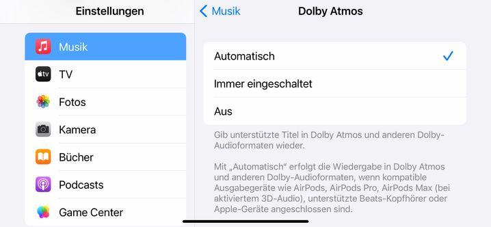 Optionen für Dolby Atmos auf einem iPhone