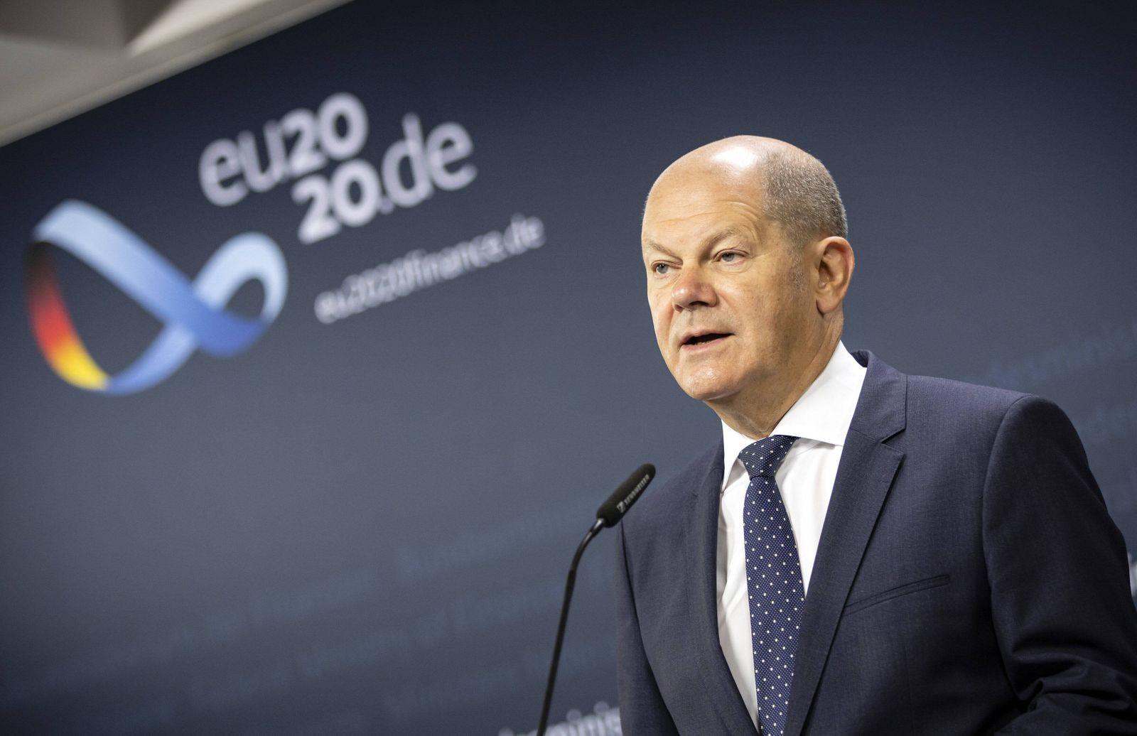 Doorstep zum ECOFIN Rat mit Bundesfinanzminister Olaf Scholz, SPD. Berlin, 10.07.2020 Berlin Deutschland *** Doorstep t