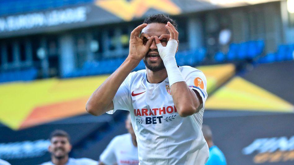 Youssef En-Nesyri beim Jubel nach seinem Treffer zum 2:0 (44. Minute)