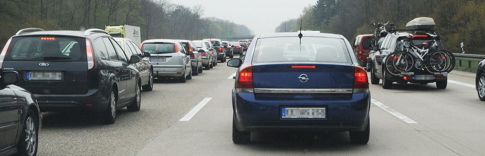 Hohes Verkehrsaufkommen bei Karlsruhe