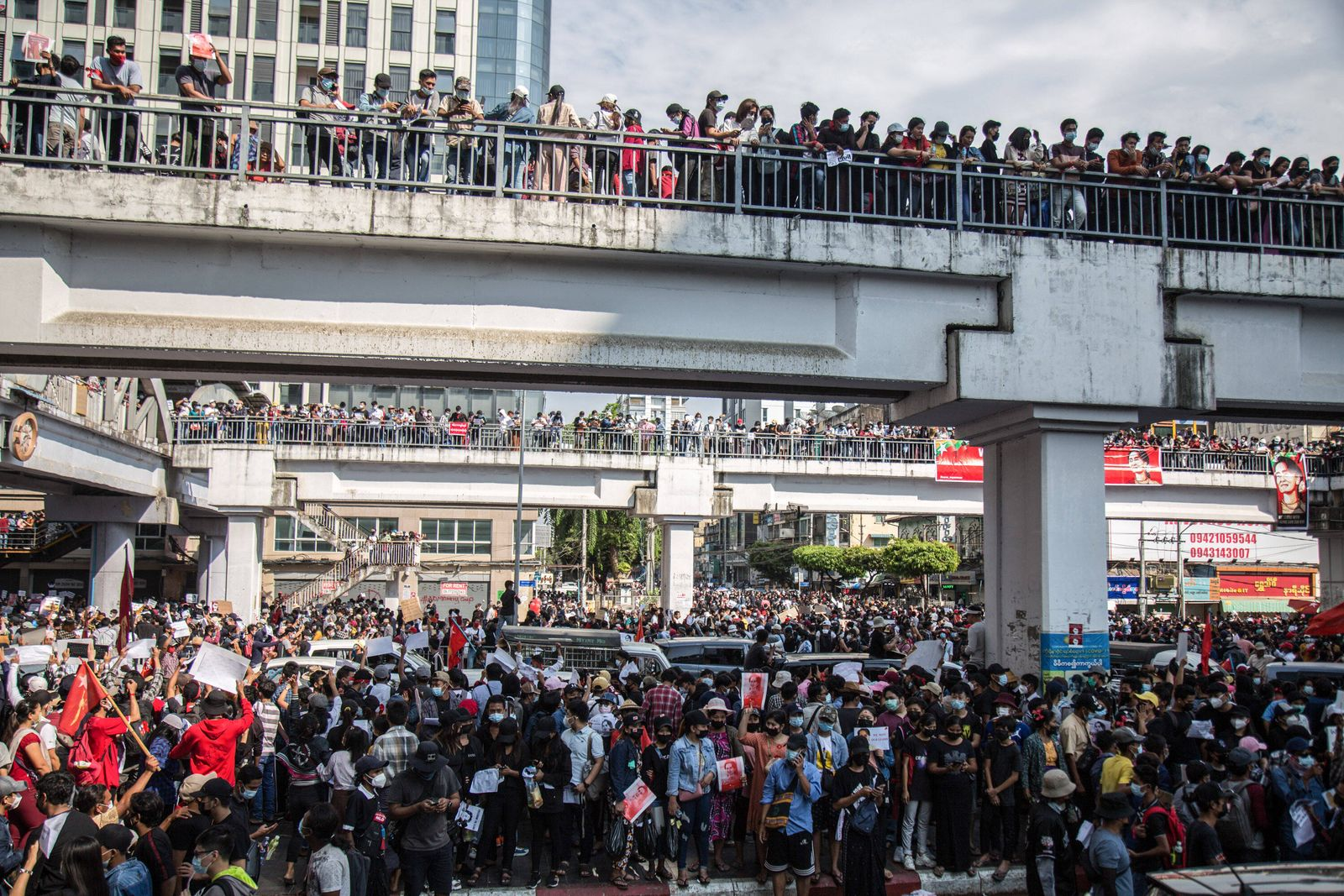 February 8, 2021, Yangon, Myanmar: Thousands of protesters gather in downtown of Yangon for the third day of protests a