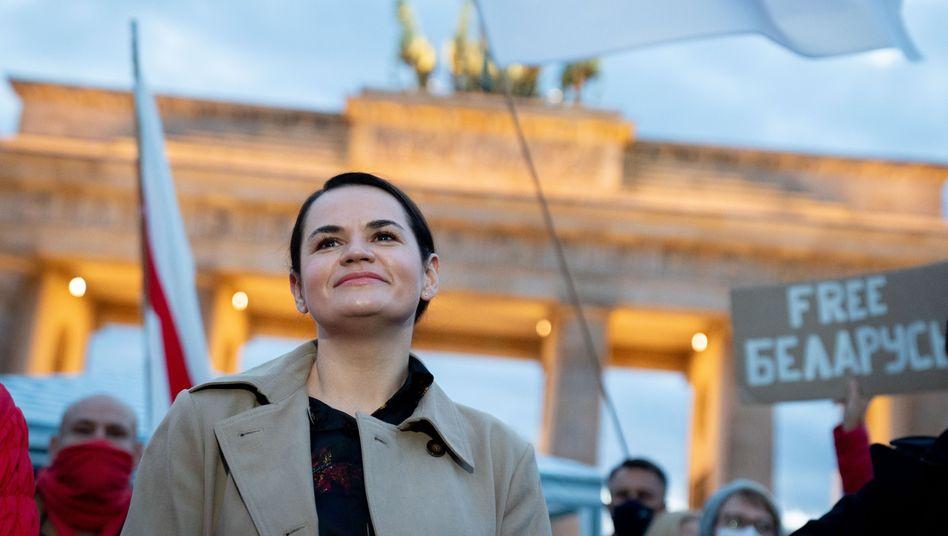 Belarussische Oppositionsführerin Swetlana Tichanowskaja Anfang Oktober in Berlin