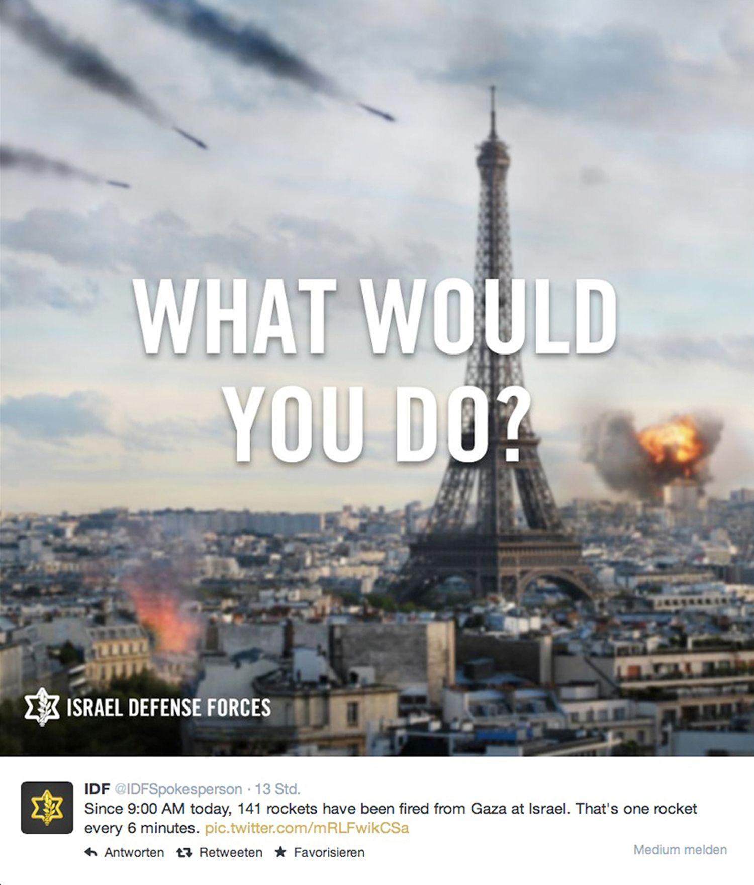 EINMALIGE VERWENDUNG SCREENSHOT/ IDF/ Twitterkrieg