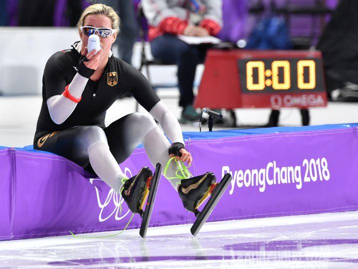 Claudia Pechstein nach ihrem Rennen