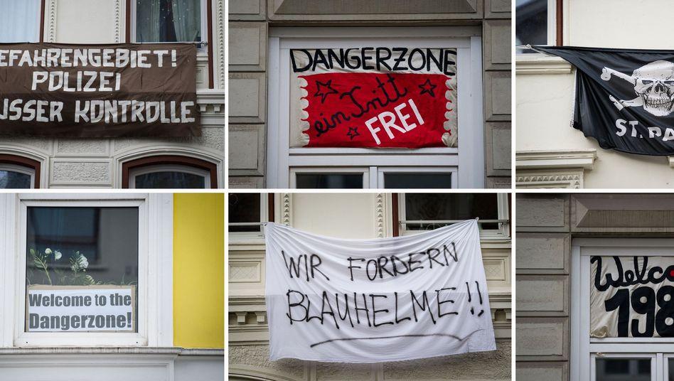 Gefahrenzone in Hamburg: Protestplakate im Stadtteil St. Pauli