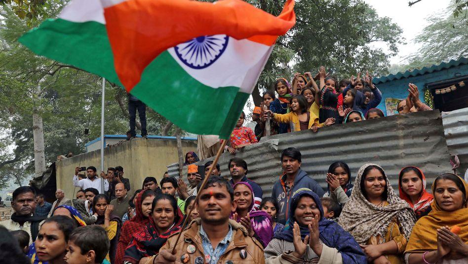 Befürworter des neuen Staatsbürgerschaftsgesetzes in Neu-Delhi