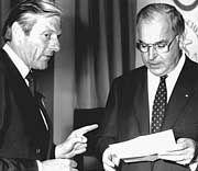 Kohl 1982 bei Kiep in Hamburg, der damals CDU-Spitzenkandidat für die Hamburgische Bürgerschaft war