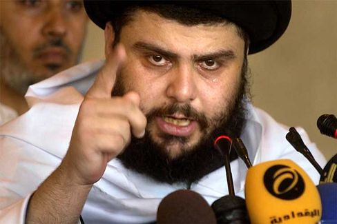 Radical Shiite cleric Muqtada al-Sadr delivers a sermon to followers during prayers.