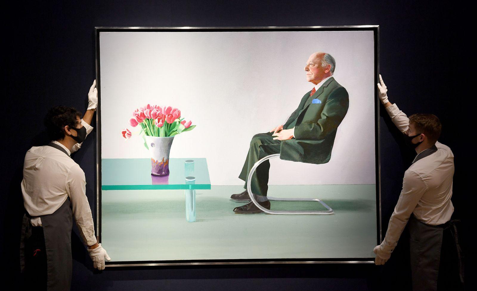London's Royal Opera House sells David Hockney portrait to raise funds, United Kingdom - 09 Oct 2020