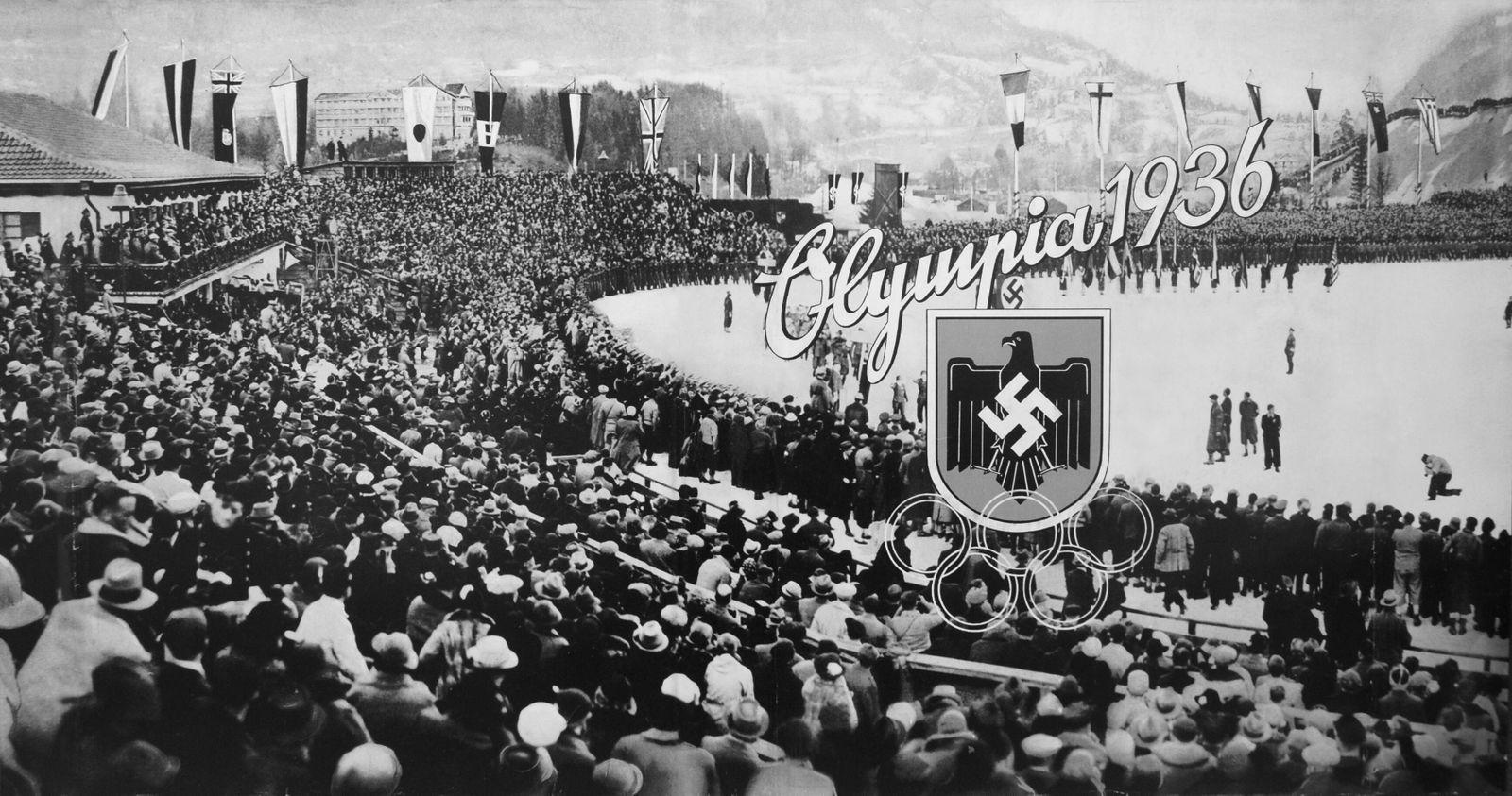 Olympische Spiele 1936 03/11 teu Titelbild eines Sammelalbums der Olympischen Winterspiele 1936 in Garmisch-Partenkirch