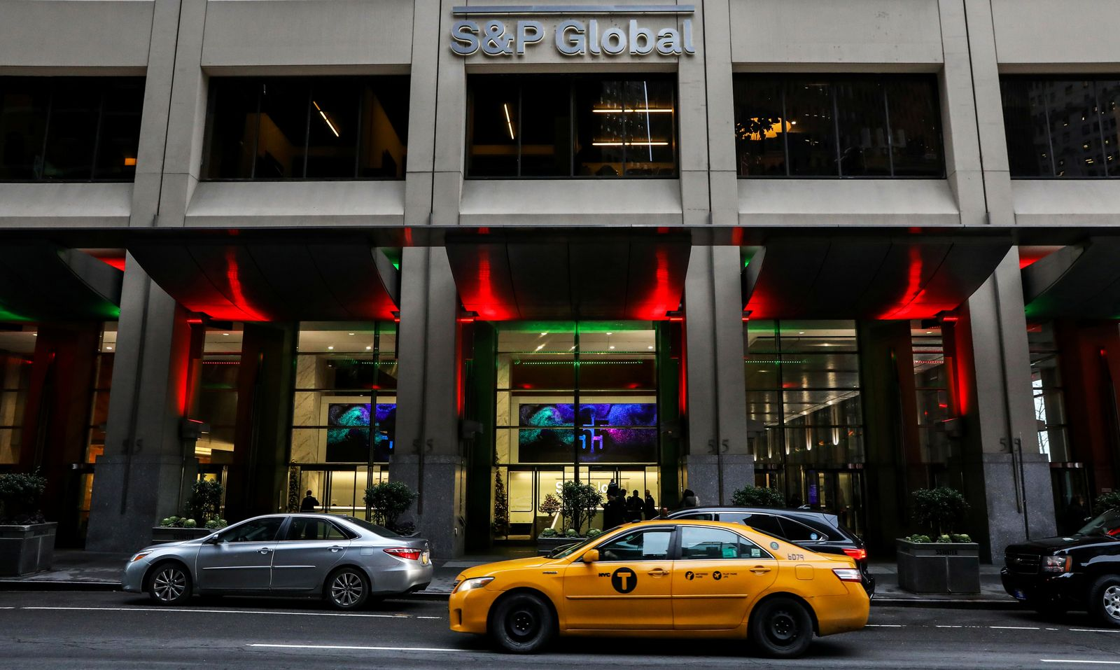 The S&P Global logo is displayed on its offices in the financial district in New York