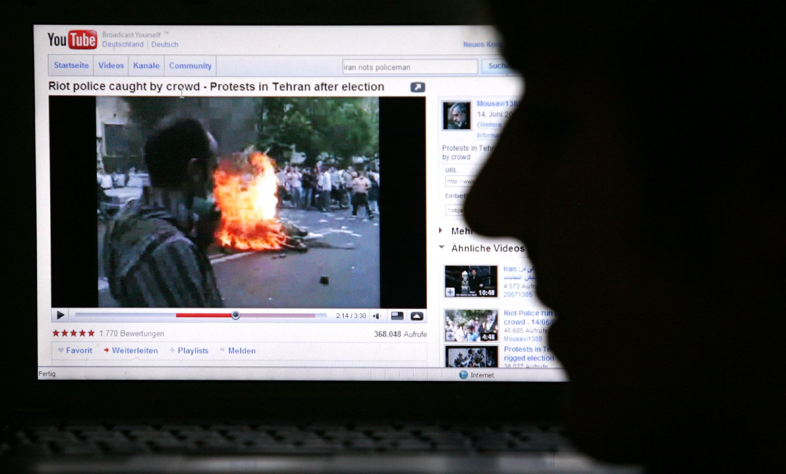 Iran Unruhen / YouTube / Internet