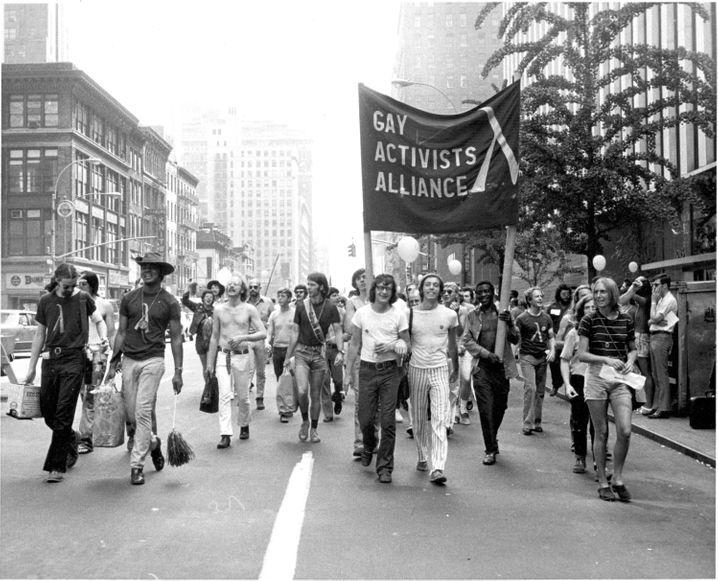 Teilnehmer des CSD in New York 1971