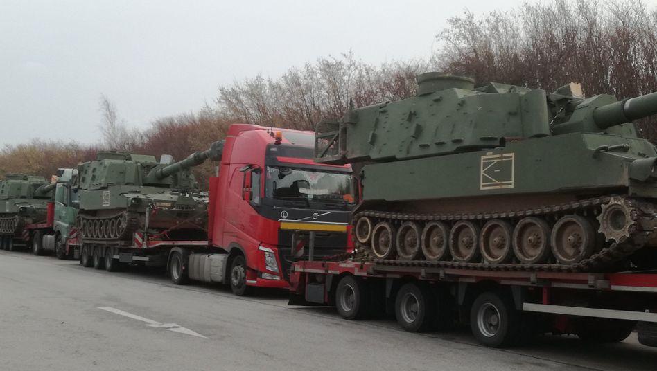Gestoppter Panzerkonvoi