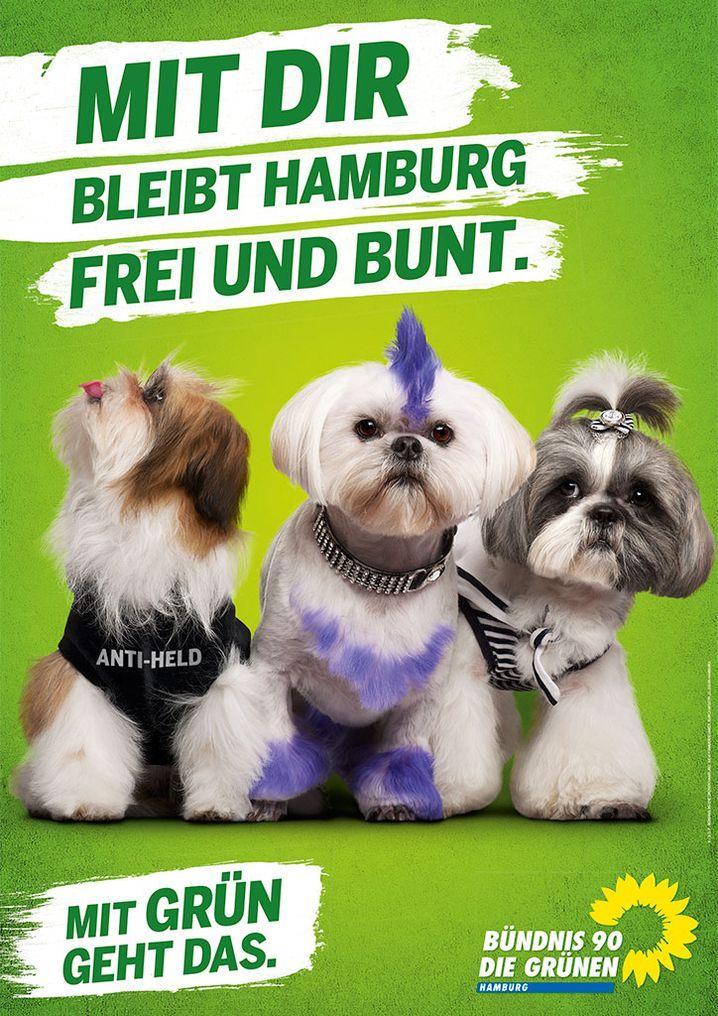 """""""Mit Dir bleibt Hamburg frei und bunt"""": Slogan der Grünen, Hunde inklusive"""