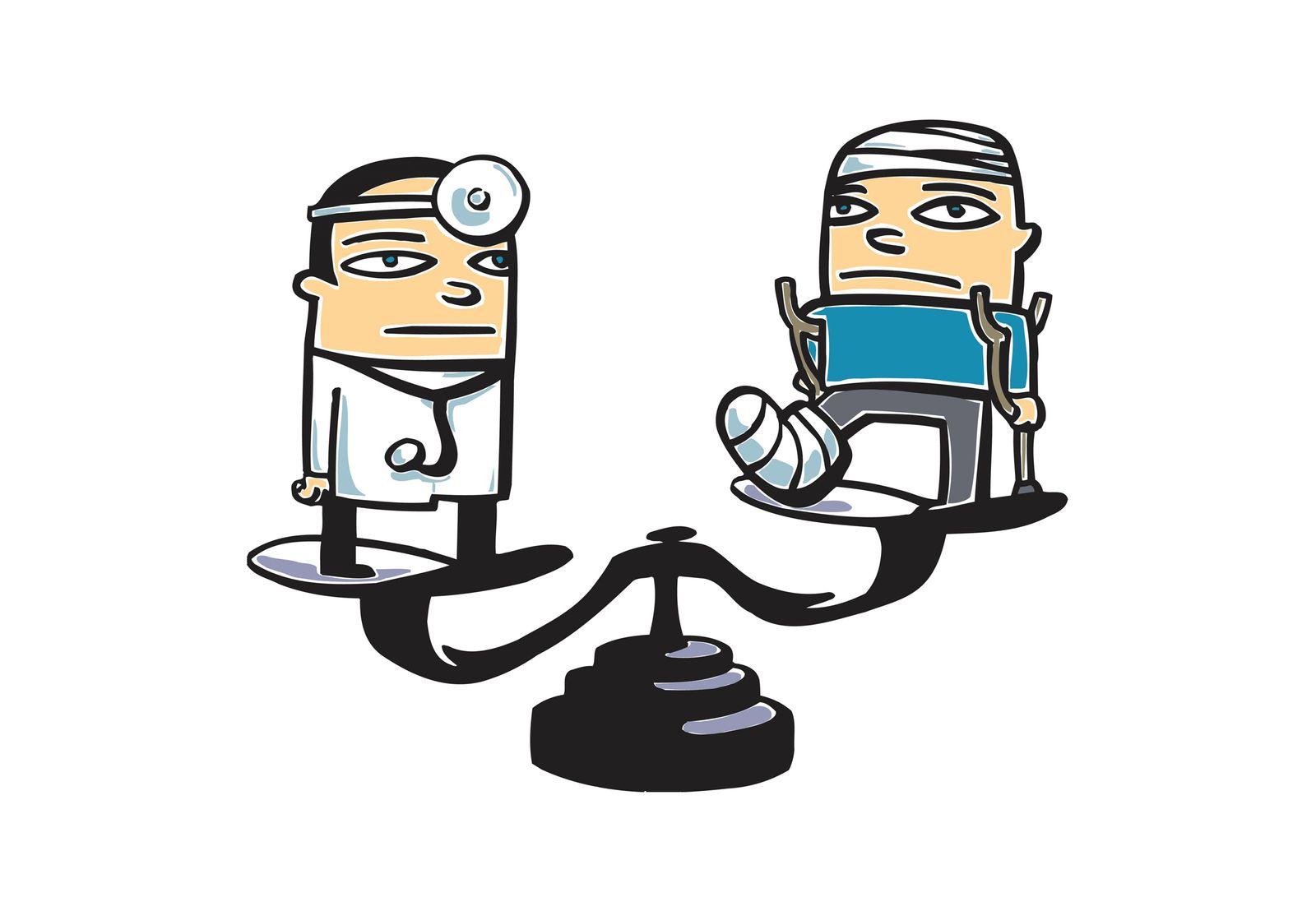 NICHT MEHR VERWENDEN! - SYMBOLBILD Arzt / Patient / Waage