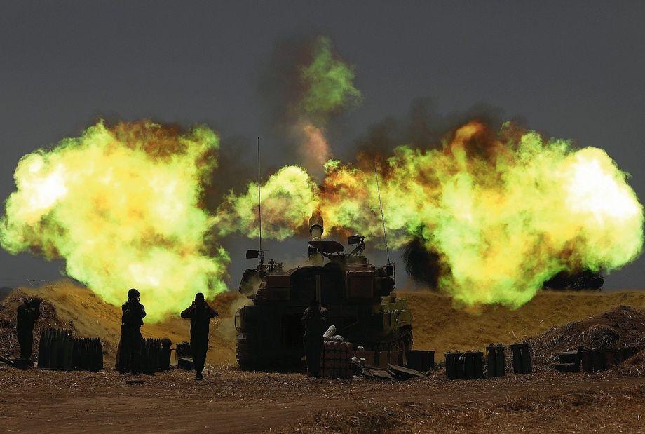 An Israeli artillery attack on Gaza.