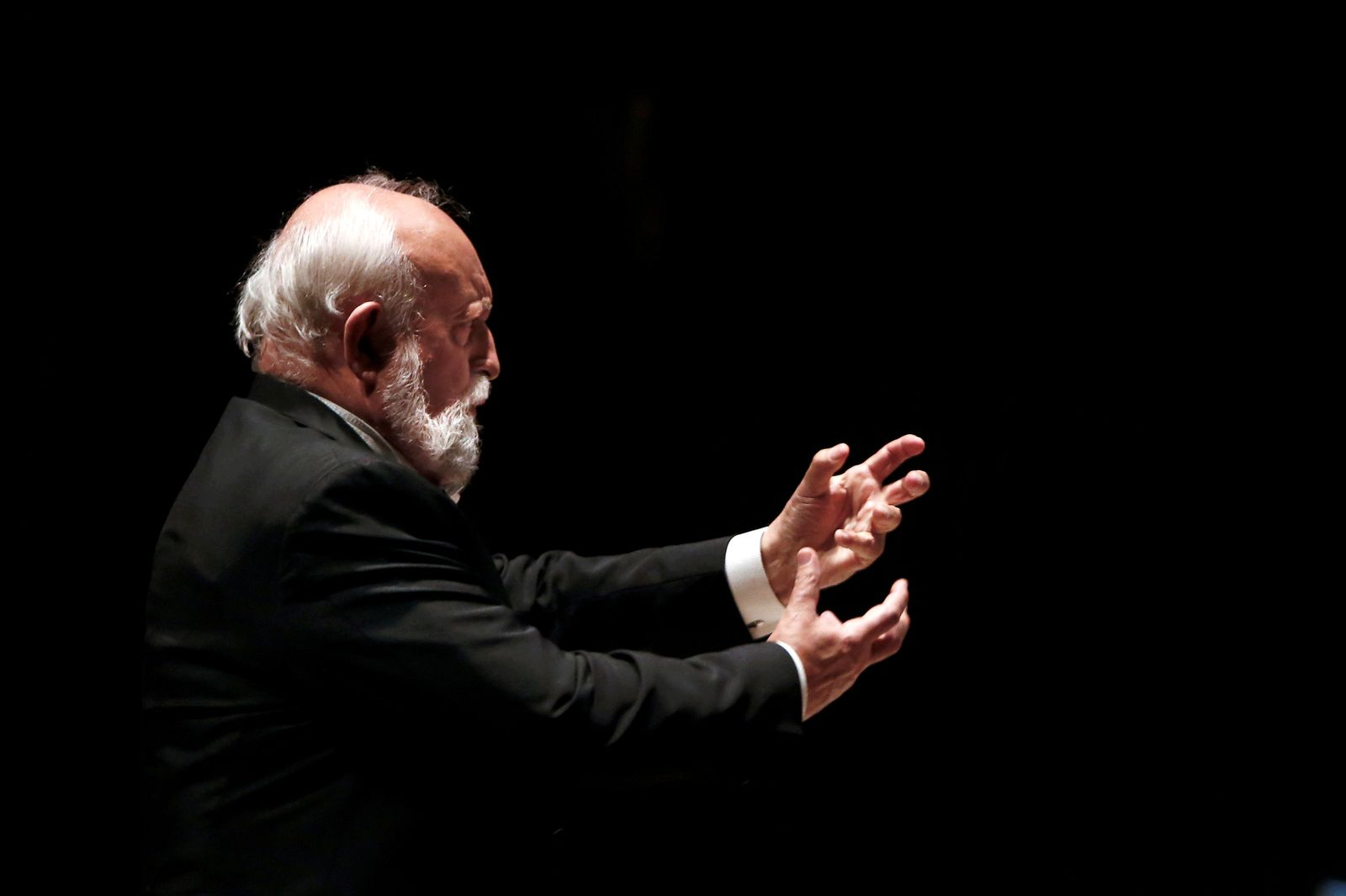 FILE PHOTO: Polish composer Krzysztof Penderecki conducts the Israel Philharmonic Orchestra in Tel Aviv