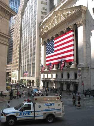 Sicherheitsvorkehrungen vor der New York Stock Exchange
