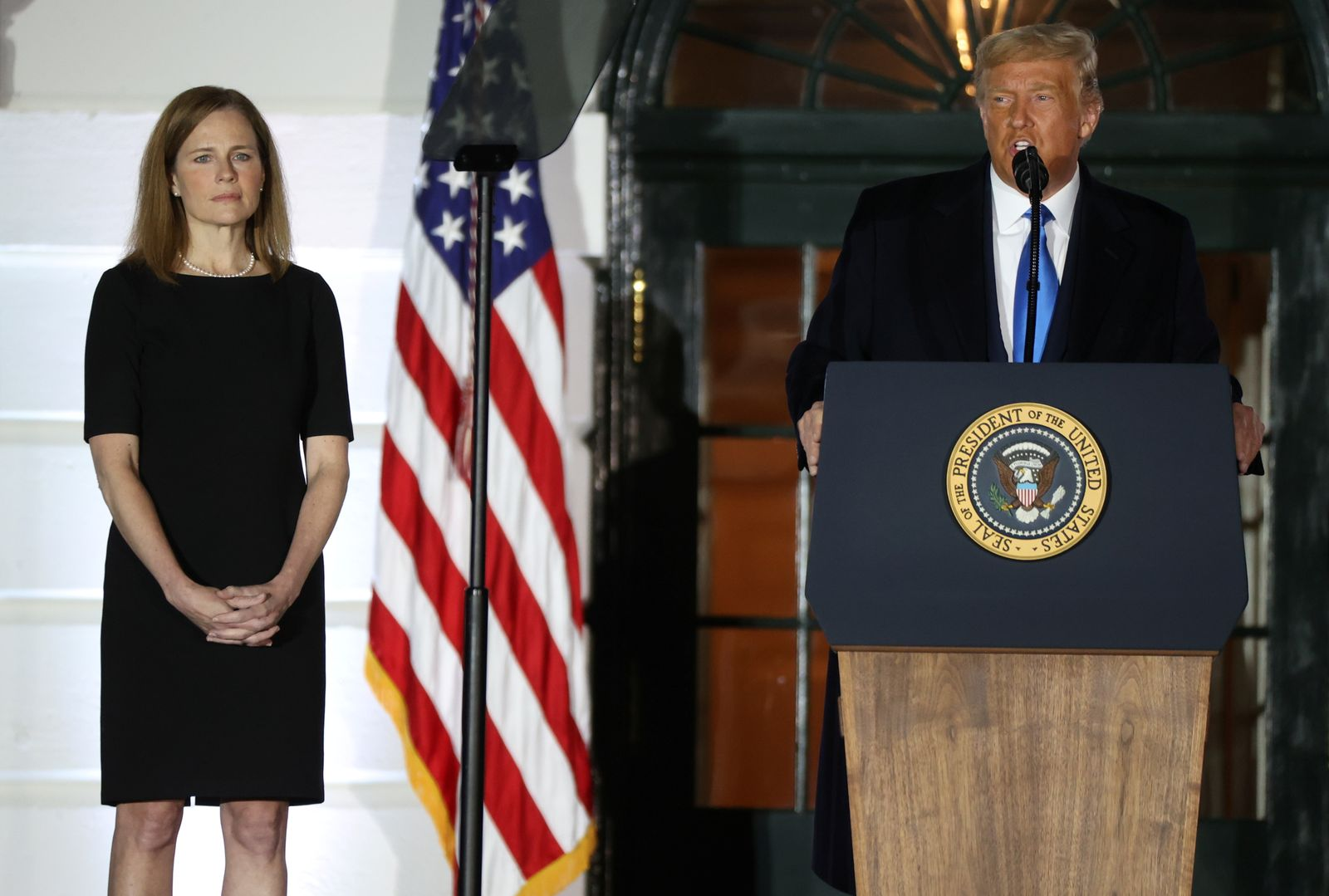 Judge Amy Coney Barrett is sworn in as an associate justice of the U.S. Supreme Court at the White House in Washington