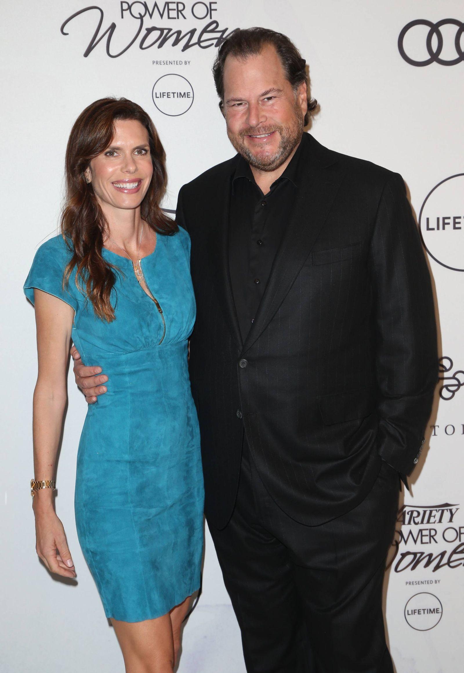 EINMALIGE VERWENDUNG Marc Benioff & Lynne Benioff/ Time Magazine
